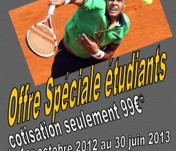 Tennis, adhésion spéciale étudiant Pornichet