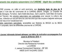 Recrutements des emplois saisonniers à la CARENE