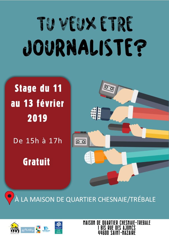 Stage / Tu Veux Être Journaliste ? @ Maison de Quartier Chesnaie-Trebale